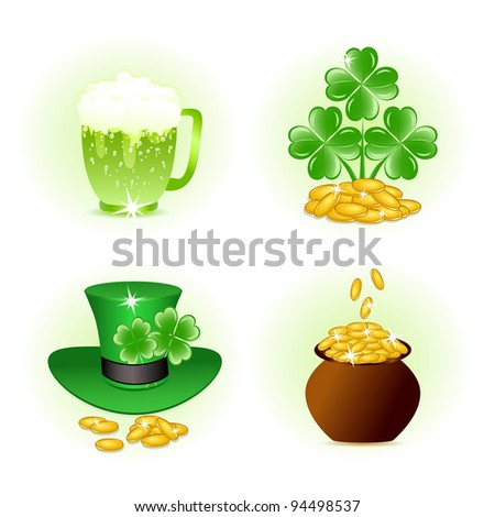 set of four glossy icons for patrick day celebration