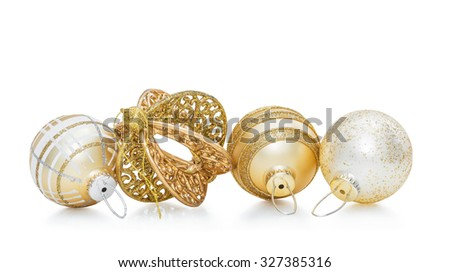 Set of four gold Christmas ball and New Year baubles decoration isolated on white background