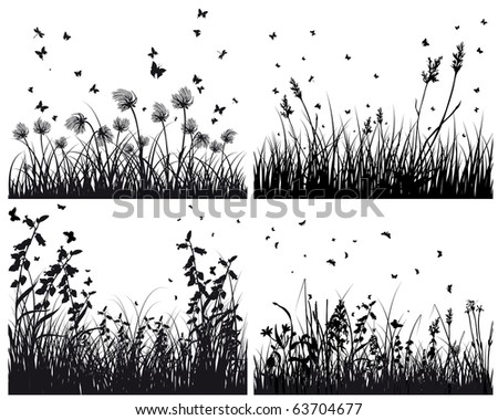 Set of four grass silhouettes backgrounds