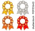 Set of four isolated colorful rosettes with ribbons - stock photo