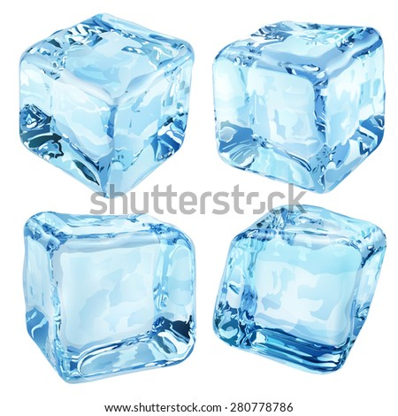 Set of four opaque ice cubes in blue colors - stock photo