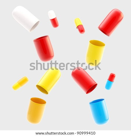 Set of four pairs of closed and opened glossy pills isolated on grey - stock photo