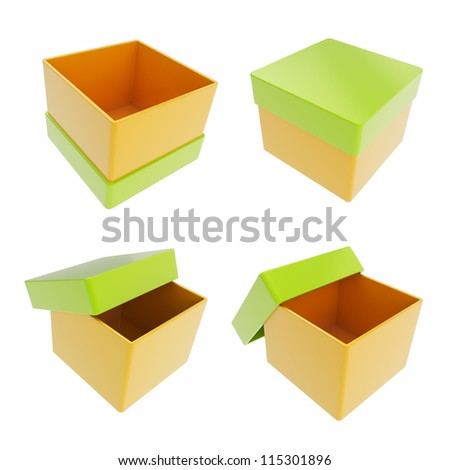 Set of four parallelogram cube shaped glossy orange and green colored gift boxes isolated on white background - stock photo