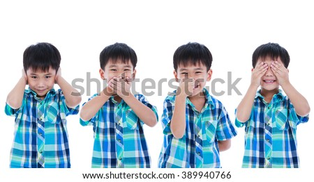Set of four portrait of playful asian boy covering his ear mouth nose eye in different poses. Isolated on white background. Positive human emotion, facial expression feeling reaction. Studio shot. - stock photo