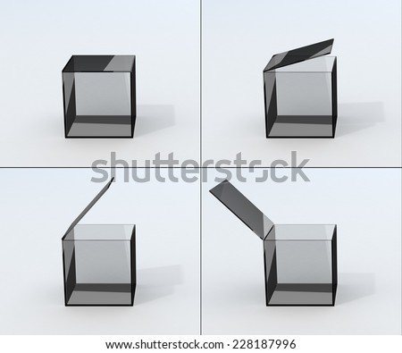 set of  four position opening isolated glass box - stock photo
