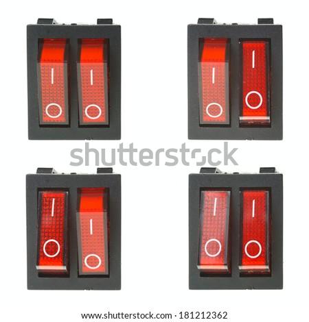 Set of four red electric buttons isolated on white background - stock photo