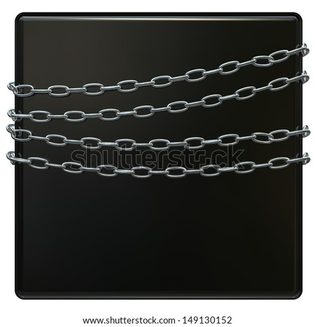 Set of four round shiny welded stainless steel chains - stock photo