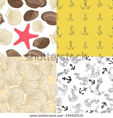 set of four seamless backgrounds with anchors and sea fish - stock photo