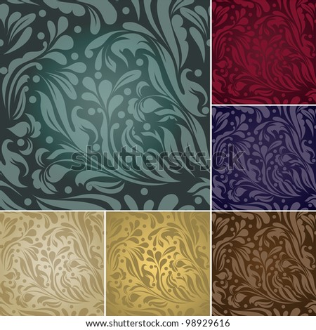 Set of four Seamless flower texture (raster version) - stock photo