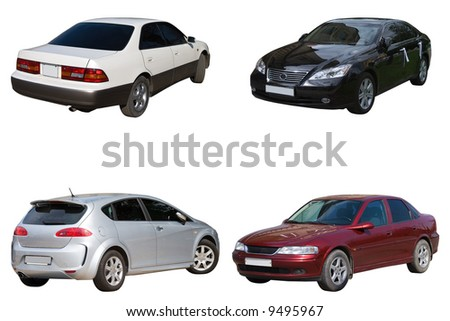 Set of four sedan car - stock photo