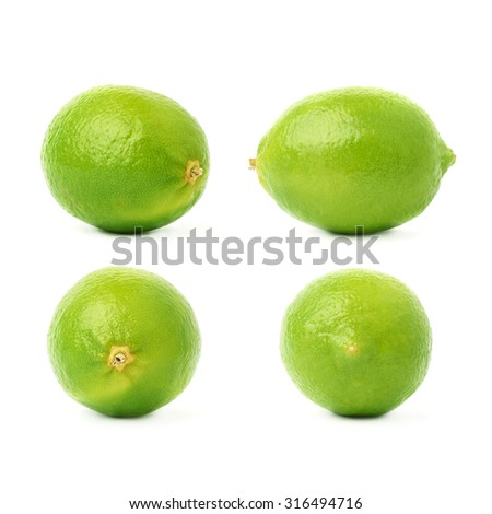 Set of four single ripe limes in different compositions and foreshortenings, isolated over the white background - stock photo