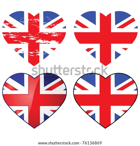 Set of four Union Jack flags shaped like a heart - stock photo