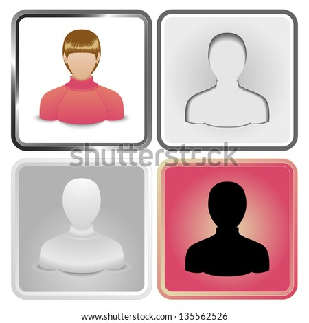 Set of four User Icon of  women in a sweater. - stock photo