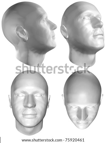 Set of Four Views of a Human Head at the Different Angles on White Background. With Clipping Path. 3D render - stock photo