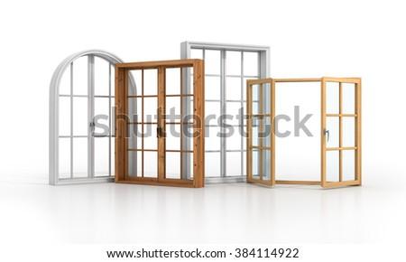Set of four windows on the white floor. - stock photo