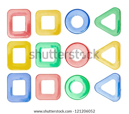 set of frames from child toy vibrant colors on the white - stock photo