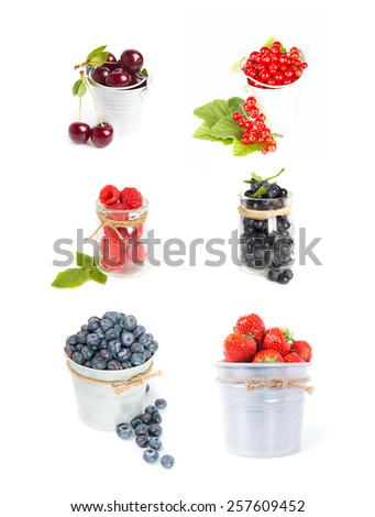 Set of fresh berries fruits isolated on white: cherry, strawberry, raspberry, blueberry, red current - stock photo
