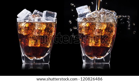 set of Fresh cola drink  with ice and splash on a black background