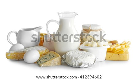 Set of fresh dairy products , isolated  on white - stock photo