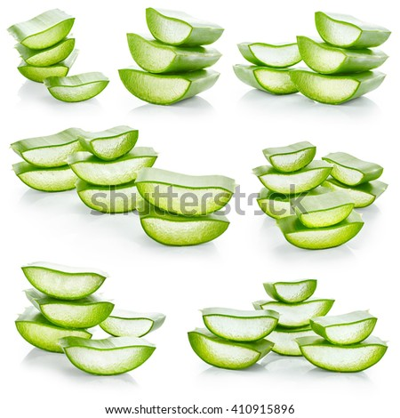 Set of fresh slices aloe vera isolated on white background - stock photo