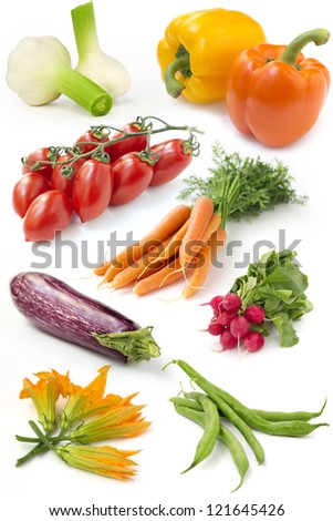 set of fresh vegetables on white background - stock photo