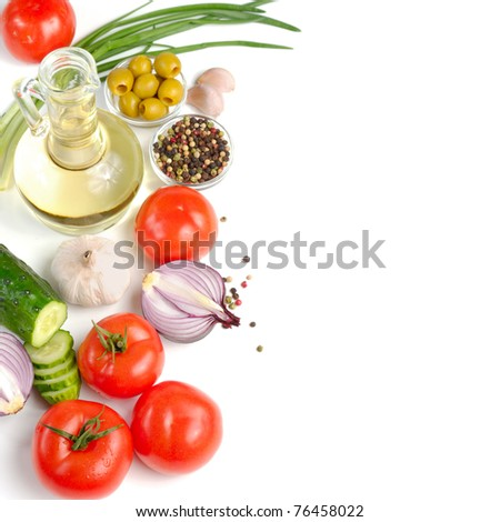 Set of fresh vegetables with olive oil on the white background - stock photo