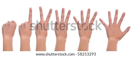 set of front woman hands counting from zero to five (isolated on white background) - stock photo