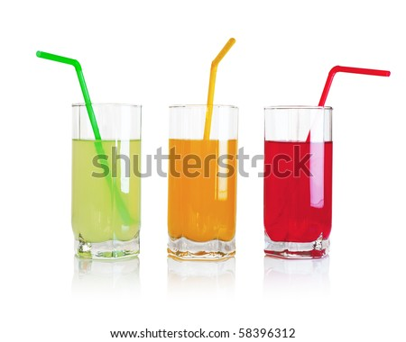 Set of fruit drinks - stock photo