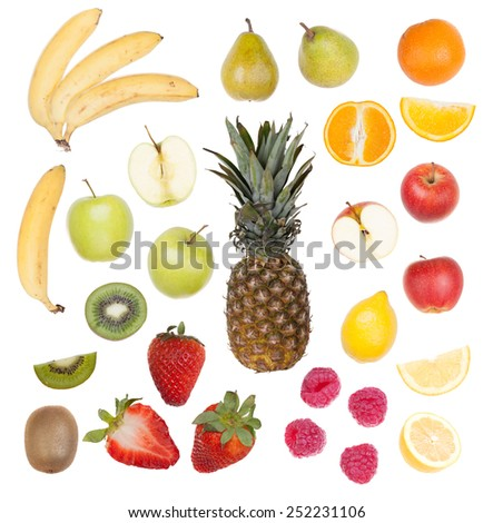 Set of fruit isolated on white background - stock photo