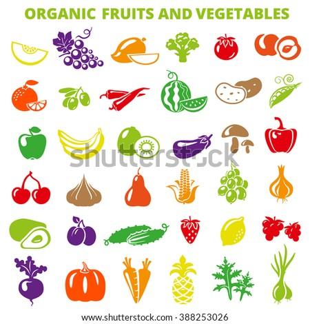 Set of fruits and vegetables: banana, apple, lemon, pear, cherry, pineapple, eggplant, corn, avocado, cucumber, plum, strawberry, beets, radish, garlic, carrots, pumpkin. Fruits and vegetables icons - stock photo