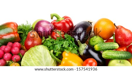 set of fruits and vegetables isolated on white background - stock photo