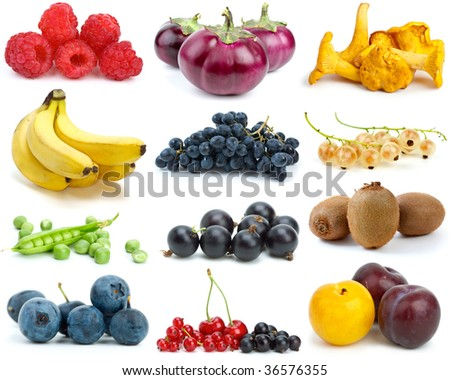 Set of fruits, berries, vegetables and mushrooms of different colors isolated on the white background - stock photo