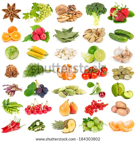 Set of fruits, vegetables, spices and nuts isolated on white background