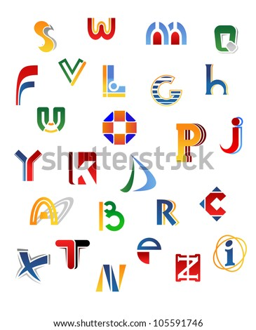 Set of full alphabet letters in different design, such logo. Vector version also available in gallery