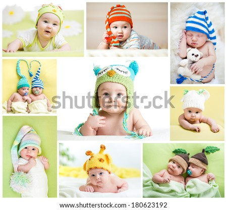 set of funny babies or children weared in hats - stock photo