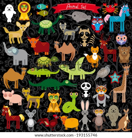 Set of funny cartoon animals character on  black background. zoo.  - stock photo