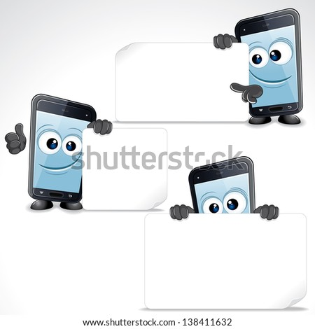 Set of Funny Cartoon Smart Phone. Mobile Phone with Blank Sign and Thumb Up