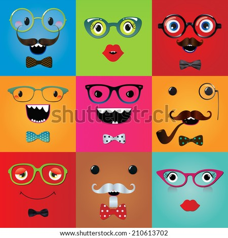 Set of funny hipster monster eyes and face expressions. illustration. Party design elements and masks. Isolated. Image - stock photo
