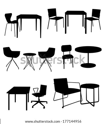 set of furniture. Tables and chairs. Black silhouette - stock photo