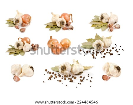 set  of garlic and onion bay leaf pepper mash in isolation - stock photo