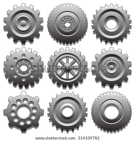 Set of gear wheels - stock photo