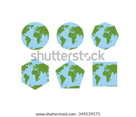 Set geometric shapes world atlases map stock illustration 349539575 set of geometric shapes of world atlases map of planet earth is round gumiabroncs Images
