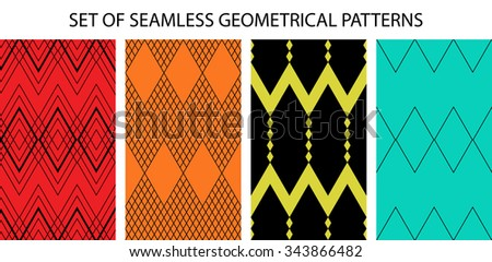 Set of 4 geometrical different seamless patterns (tiling). Retro endless textures can be used for wallpaper, pattern fills, web page background,surface textures. Set of monochrome geometric ornaments - stock photo