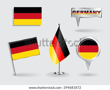 Set of German pin, icon and map pointer flags. Raster version - stock photo