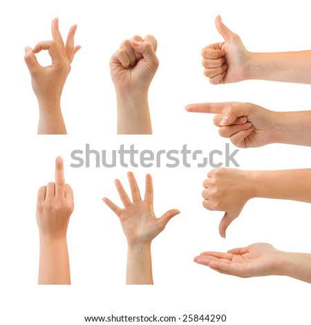 Set of gesturing hands isolated on white background - stock photo