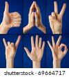 Set of gesturing hands on blue background - stock photo