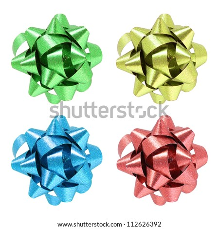 Set of gift bow isolated on white background with clipping path - stock photo