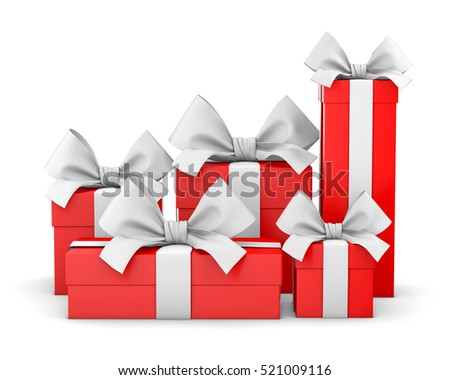 set of gift box isolated for Christmas, New Year's Day , group red gift boxes white background 3d rendering