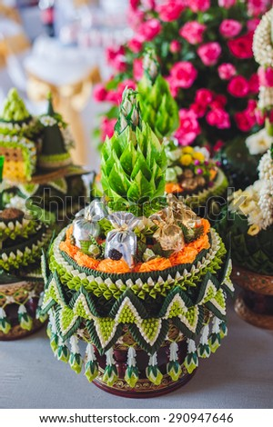 set of gift decorate with banana leaves use in traditional thai wedding ceremony - stock photo