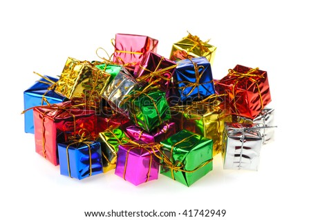 Set of gifts in boxes. Bright brilliant surfaces